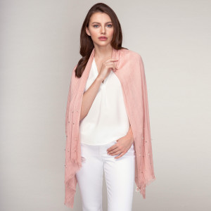 """Lightweight solid scarf with pearl bead and silver tone bead embellishments. 100 % viscose. Measures 28"""" x 70"""" in size."""