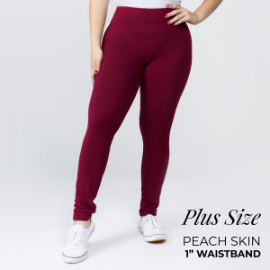 """These New Mix Brand peach skin leggings are seamless, chic, and a must-have for every wardrobe. These lightweight, full-length leggings have a 1"""" waistband. They are versatile, perfect for layering, and available in many colors. 92% Polyester 8% Spandex. One size, fits US women's 16-20."""