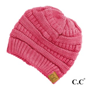 "The original C.C beanie style in new candy pink. 100% acrylic. Measures 9.5"" in diameter and 8"" in length"
