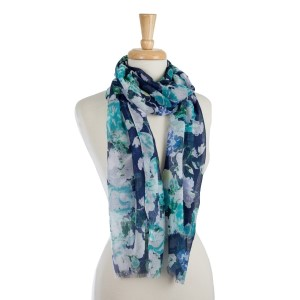 "Lightweight, open scarf with a navy and mint, floral print. 100% polyester. Measures 28"" x 70"" in size."