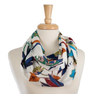 """Lightweight infinity scarf with a tropical flower print. 100% cotton. Measures 8"""" x 32"""" in size."""