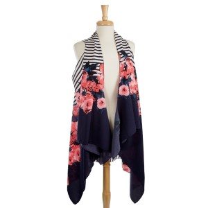 Navy blue sleeveless, floral and striped vest. 100% polyester. One size fits most.
