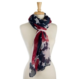 "Lightweight, American flag printed scarf. 100% polyester. Measures 42"" x 72"" in size."