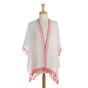 Lightweight, white kimono with a colorful embroidered design and tassel accents. 100% polyester. One size fits most.