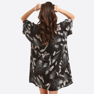 Lightweight kimono with a peacock feather print. 100% polyester. One size fits most.