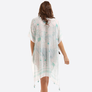 Lightweight, white kimono with a subtle floral print and tassels on the ends. 100% polyester. One size fits most.