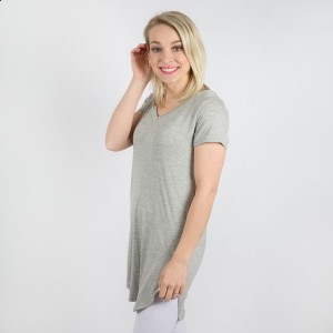Modal Rayon Simple V-Neckline Short Sleeve Tunic Top. An extended, long, rounded hemline offers cascading coverage at the hips via a soft tunic top. Its flared-style is extremely flattering when worn with fitted trousers. 95% modal/rayon and 5% spandex. Sold in packs of six - one small, two mediums, two larges, one XL.