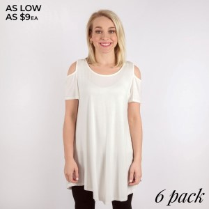 Pull your look together with this solid cold shoulder tunic top that features short sleeves, a hi-lo rounded hemline, and a cut out detail in the back. 95% Rayon 5% Spandex. Sold in packs of six - one small, two mediums, two larges, one XL.
