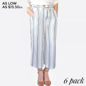 Lightweight pinstripe culottes with an elastic waistband and tie front. 100% rayon. Sold in packs of six - two small, two medium, two large.