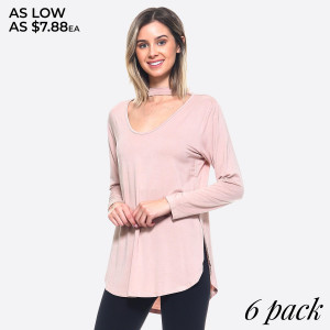 This top is made with a soft and breathable knit. It has a modern feminine feel with long sleeves and a choker-style strap over a cutout u-neckline.   • U-neckline  • Long sleeve  • Curved Hemline  • Choker-Style Strap  • Closure Style: Pullover  • Rayon/Spandex  • Hand Wash, Tumble Dry, Do not Dry Clean  • Import   Content: 95% Rayon, 5% Spandex   Pack Breakdown: 6pcs/pack. 2S: 2M: 2L