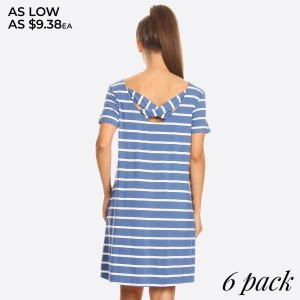 Comfy Tunic T-Shirt Dress is perfect to wear as a sexy casual day summer dress or pair it with leggings for a more cozy look. Striped short sleeve dress with pockets and crossed back.   - Scoop Neckline  - Short Sleeve  - Side Pockets  - Closure Style: Pullover  - Rayon/Spandex  - Machine wash, lay flat to dry   Content: 95% Rayon, 5% Spandex   Pack Breakdown: 6pcs/pack. 2S: 2M: 2L