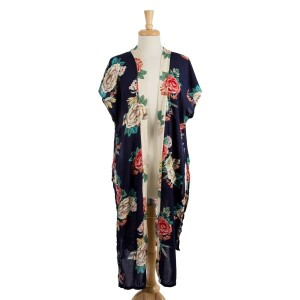 Lightweight, short sleeve kimono with a floral print and a contrasting trim down the front. 100% viscose. One size fits most.