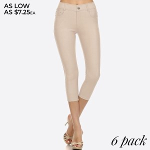 The Original is your standard 5 pocket jean Capri jegging. With classic silhouette construction, the Original is smooth, stretchy, and fits like a glove. There are also rhinestones pocketing and button embellishment highlighting the look and feel.   • Capri jeggings featuring a light sheen and jean-style construction  • Lightweight, breathable cotton-blend material for all day comfort  • Belt loops with 5 functional pockets  • Decorative, non-functional rhinestone button and fly with rivet details  • Super Stretchy  • Pull up Style   Composition: 68% Cotton, 27% Polyester, 5% Spandex.   Pack Breakdown: 6pcs/pack. 2S: 2M: 2L