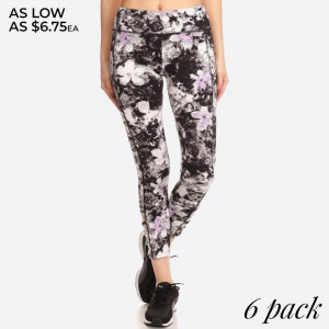 TIE DYE FLORAL PRINT, FULL LENGTH FITTED ACTIVEWEAR STYLE PANTS WITH HIGH BANDED WAIST AND SIDE ANKLE CROSS STRAP DETAIL CUTOUTS.   SIZE: S-M-L-XL (1-2-2-1) PACKAGE:6PCS/PREPACK 94% POLYESTER 6% SPANDEX