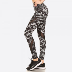 CAMO PRINTED, HIGH WAISTED LEGGINGS IN A FIT STYLE, WITH AN ELASTIC WAISTBAND, AND MESH PANELS.  SIZE:S-M-L-XL (1-2-2-1) PACKAGE:6PCS/PREPACK 94% POLYESTER 6% SPANDEX,  MESH: 90%POLYESTER, 10%SPANDEX