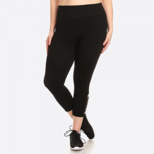 PLUS SIZE, SOLID KNIT HIGH WAISTED CAPRI LEGGING WITH BOTTOM SIDE PANEL CUT OUTS.  SIZE:1X/2X- 2X/3X (3:3) PACKAGE:6PCS/PREPACK 61% VISCOSE 34% POLYESTER 5% SPANDEX