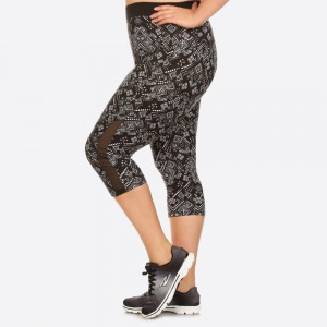 PLUS SIZE GEOMETRIC PRINTED, HIGH WAISTED, CROPPED WORKOUT PANTS IN A FIT STYLE, WITH AN ELASTIC WAISTBAND, AND MESH PANELS.  SIZE:1X-2X-3X (2-2-2) PACKAGE:6PCS/PREPACK 94% POLYESTER, 6% SPANDEX  MESH: 90% POLYESTER, 10% SPANDEX