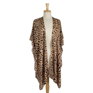 Lightweight, short sleeve kimono with a leopard print. 100% viscose. One size fits most.