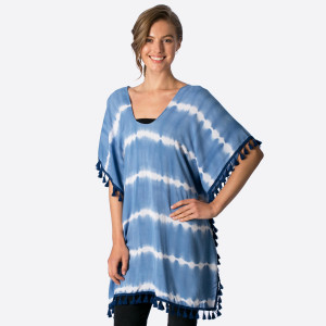 Lightweight, short sleeve poncho top with tassel border. 100% viscose. One size fits most.