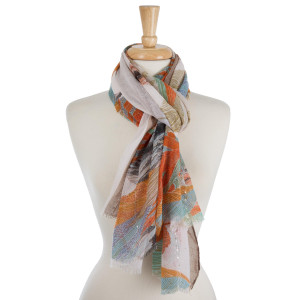 """Lightweight, open scarf with a feather print. 100% polyester. Measures 27"""" x 68"""" in size."""