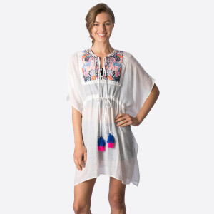 Lightweight, short sleeve top with an embroidery and tassel front design that can be worn as a swimsuit cover up. 100% viscose. One size fits most.