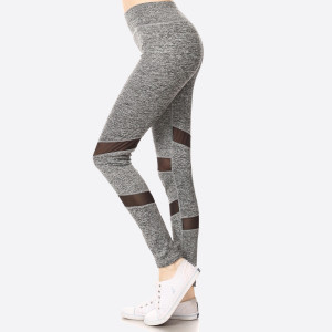 Turn your morning jog into a fashion show with the Stylish Stride Black Leggings! These stretch knit leggings have a wide waistband atop skinny pant legs with angular panels of sheer mesh.   • Long, skinny leg design  • Power mesh insets at sides  • Thick, comfortable waistband. • Side mesh pockets  • Moisture Management  • Pull-on styling; thick elastic waistband  • Polyester/Spandex  • Hand Wash Cold. Do not bleach. Hang Dry  • Imported   Composition: 92% Polyester 8% Spandex    Pack Breakdown: 6pcs/pack. 1S: 2M: 2L: 1XL