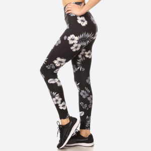 TROPICAL FLORAL PRINTED POLY BRUSHED FULL LENGTH BODY SLIMMING FITTED LEGGINGS WITH HIGH ELASTIC WAIST. SUPER SOFT, STRETCHY AND COMFORTABLE  SIZE:S-M-L-XL(1-2-2-1) PACKAGE:6PCS/PREPACK 92% POLYESTER 8% SPANDEX