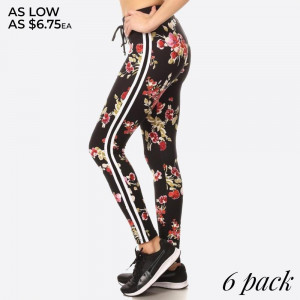 SOFT BRUSHED FLORAL PRINT, FULL LENGTH, HIGH WAISTED LEGGINGS IN A FITTED STYLE WITH AN ELASTIC WAISTBAND, SIDE STRIPES, AND FRONT TIE. SUPER SOFT, STRETCHY AND COMFORTABLE.    SIZE:S-M-L-XL(1-2-2-1) PACKAGE:6PCS/PREPACK 94% POLYESTER 6%SPANDEX