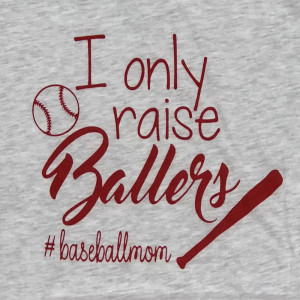 I ONLY RAISE BALLERS #BASEBALLMOM - Short Sleeve Boutique Graphic Tee. These t-shirts are sold in a 6 pack. S:1 M:2 L:2 XL:1 52% Cotton and 48% Polyester Brand: Bella Canvas