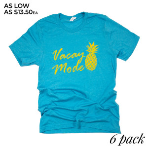 """""""Vacay Mode"""" Short Sleeve Boutique Graphic Tee. These t-shirts are sold in a 6 pack. S:1 M:2 L:2 XL:1 52% Cotton and 48% Polyester Brand: Bella Canvas"""