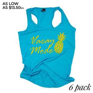 """""""Vacay Mode"""" Boutique Graphic Tank Top. These tanks are sold in a 6 pack. S:1 M:2 L:2 XL:1 35% Cotton 65% Polyester Brand: Anvil"""