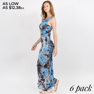 This stylish dress is a must-have for warm days and hot vacation nights. Featuring an easy drop-waist shape and flirty colorful dye. This look is ready for off-duty fun.   • Scoop Neckline  • Sleeveless  • Closure Style: Pullover  • Import   Content: 95% Rayon, 5% Spandex   Pack Breakdown: 6pcs/pack. 2S: 2M: 2L