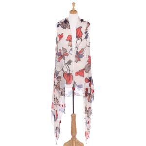 Sleeveless vest with a large floral print. 100% acrylic. One size fits most.