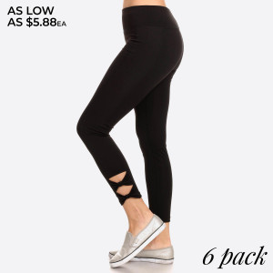 Solid, high waisted cropped leggings in a fitted style, with an elastic waistband, and bow cutout detailed makes these leggings a must for your workout wardrobe.   • Long, skinny leg design  • High Waisted  • Bow Cutout Detail  • Moisture Management  • Pull-on styling; thick elastic waistband  • Polyester/Spandex  • Hand Wash Cold. Do not bleach. Hang Dry  • Imported   Composition: 92% Polyester 8% Spandex   Pack Breakdown: 6pcs/pack. 1S: 2M: 2L: 1XL