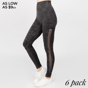 Casual yet very stylish! These leggings will be the staple piece to your outfit no matter the occasion. Wear with a plain tee for a casual look or hit the gym in them!   - Long, skinny leg design  - Side Mesh Detailing  - Comfortable Elastic Waistband - Pull-on styling  - Cotton/Polyester  - Machine Wash Warm with similar colors using Gentle Cycle.   Composition: 92% Nylon, 8% Spandex   Pack Breakdown: 6pcs/pack