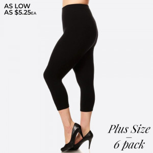 """Plus size high waist compression capri legging. Tummy Control for extra hold. These high waist Capri leggings have a compression control top that flattens your tummy and contours your waistline for an hourglass silhouette.   - Skinny leg design  - Does not ball or pill  - Comfortable and easy pull-on style  - Solid color  - Very Stretchy  - One Size Fits Most  - Tummy Control  - Hight Waist  - 8"""" Waist Band   Content: 55% viscose, 40% polyester, 5% spandex  One size fits most plus.  Pack Breakdown: 6pcs/pack"""