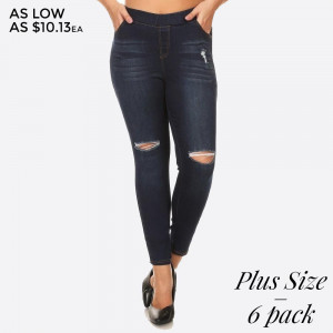 Women's Classic Distressed Skinny Jeggings. These jeggings are styled to resemble a pair of jeans. Get both comfort and style!  • Super Stretchy  • Pull up Style  Composition: 76% Cotton, 22% Polyester, 2% Spandex  Pack Breakdown: 6pcs/pack. 2 1XL, 2 2XL, 2 3XL