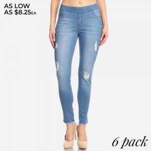 Women's Classic Distressed Skinny Jeggings. These jeggings are styled to resemble a pair of jeans. Get both comfort and style!  • Super Stretchy  • Pull up Style  Composition: 76% Cotton, 22% Polyester, 2% Spandex  Pack Breakdown: 6pcs/pack. 2S: 2M: 2L