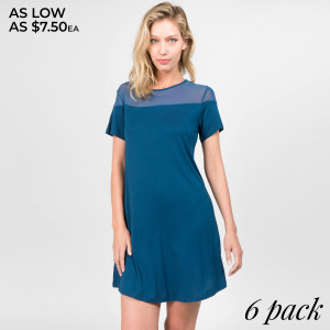 Our lightweight, knit dress is designed with a peek-a-boo mesh inset at the neckline.  A great option for your next night out on the town!   • Crew Neckline  • Closure Style: Pullover  • Short Sleeves  • Round Hemline  • Loose bodice  • Rayon/Spandex  • Machine wash cold, lay flat to dry    Content: 95% Rayon, 5% Spandex   Pack Breakdown: 6pcs/pack. 2S: 2M: 2L