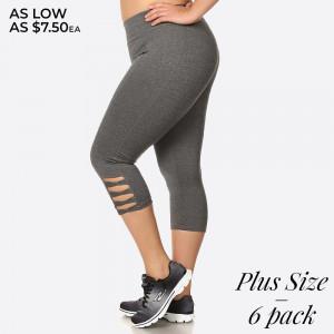 Capri length sport legging with cutout leg design and elastic waistband. Overlock stitching detail.  Size: 1XL, 2XL, 3XL (2-2-2) 6pcs  Capri: 6pcs/Prepack 92% Polyester, 8% Spandex
