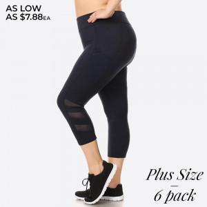 Capri length sport legging with mesh panels and elastic waistband. Overlock stitching detail.  Size: 1XL, 2XL, 3XL (2-2-2) 6pcs  Capri: 6pcs/Prepack 92% Polyester, 8% Spandex Mesh: 90% Polyester, 10% Spandex