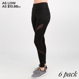 These lightweight mid-rise leggings offer maximum comfort and effortless style to get you through your workout. Our mesh panel compression leggings are flattering and squat proof, perfect for all low to high impact activity. Four way stretch fabric moves with you with an elasticized waistband for added support. Stylish mesh panels elongate the legs and allow for breath-ability. Zip pocket along back waistband helps keep your must haves safe.   • 4-way-stretch fabric for a move-with-you feel  • Tummy-flattening waistband with back zip-pocket  • Flat-locked seaming for extra comfort  • Ankle-length   Composition: 75% Nylon, 25% Spandex   Pack Breakdown: 6pcs/pack. 2S: 2M: 2L