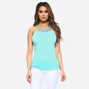 The summer must have is here! This sexy cami top features spaghetti straps, solid color, sleeveless and crisscross design. Wear this top with distressed shorts and take on Summer in style!   • Scoop-neck  • Unique Crisscross Front  • Spaghetti Straps  • Ultra Soft  • Stretchy Knit  • Machine Wash  • Imported   Content: 92% Nylon, 8% Spandex