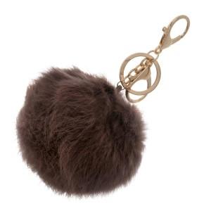 Mocha, faux fur pom pom keychain.