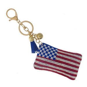"American flag key chain and bag charm. Approximately 6"" in total length."