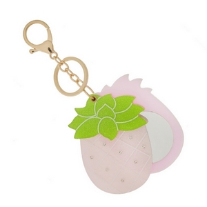 """Pineapple key chain and bag charm that slides open to be a compact mirror. Approximately 6"""" in total length."""