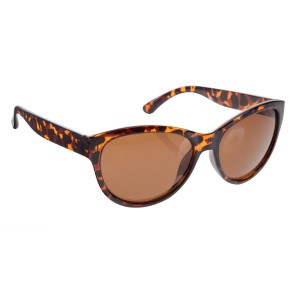 Tortoise cateye style sunglasses with UV 400 protection lenses.