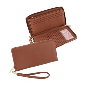 """Cognac zip around wallet with wrist strap. Measures 9"""" x 4.5"""" x 1"""""""