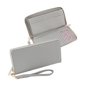"Light gray zip around wallet with wrist strap. Measures 9"" x 4.5"" x 1"""