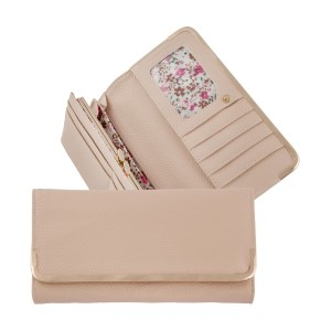 """Ivory bi-fold wallet with a snap closure and gold tone hardware. Approximately 8"""" x 4"""" x 1"""""""